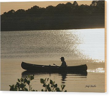 Rowing On The Lake Wood Print by Judy  Waller