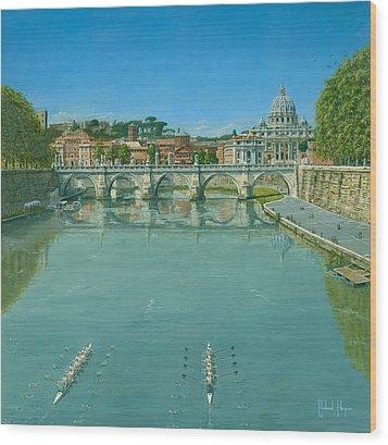 Rowing On The Tiber Rome Wood Print by Richard Harpum