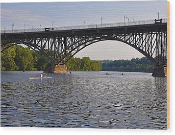 Rowing Under The Strawberry Mansion Bridge Wood Print by Bill Cannon