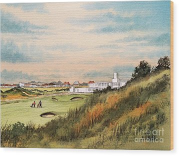 Wood Print featuring the painting Royal Birkdale Golf Course 18th Hole by Bill Holkham