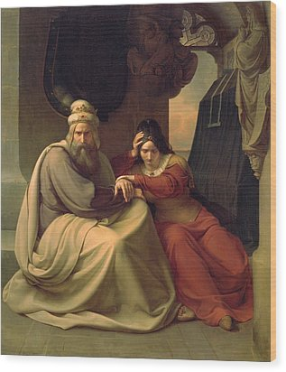 Royal Couple Mourning For Their Dead Daughter Wood Print by Carl Friedrich Lessing