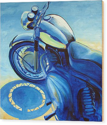 Royal Enfield Wood Print by Janet Oh