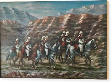 Wood Print featuring the painting Royal Knights by Laila Awad Jamaleldin