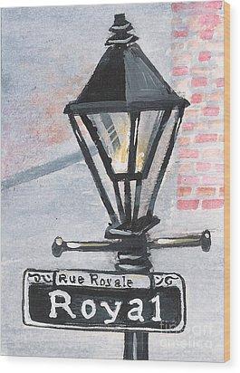 Royal Street Lampost Wood Print by Elaine Hodges
