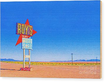 Roys Motel And Cafe Wood Print by Wingsdomain Art and Photography
