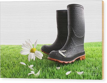Rubber Boots With Daisy In Grass Wood Print by Sandra Cunningham