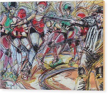 Rubber City Roller Girls Wood Print by Terry Brown