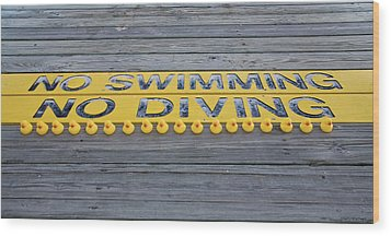 Rubber Duck Swim Team Protest Wood Print by Shelly Stallings