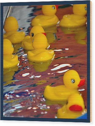 Wood Print featuring the photograph Rubber Duckies by Laura DAddona
