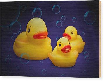 Rubber Duckies Wood Print by Tom Mc Nemar