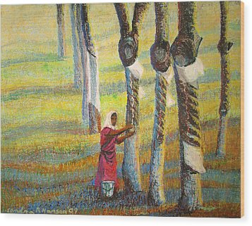 Rubber Tapping At Dawn Wood Print by Art Nomad Sandra  Hansen