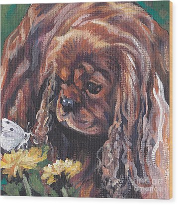 Wood Print featuring the painting Ruby Cavalier King Charles Spaniel by Lee Ann Shepard
