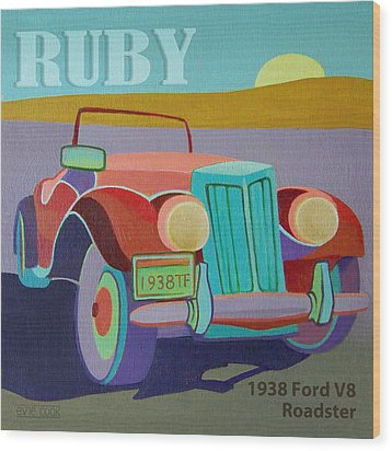 Ruby Ford Roadster Wood Print by Evie Cook