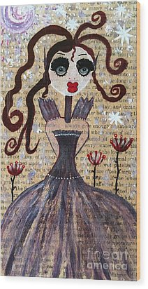 Wood Print featuring the painting Ruby by Julie Engelhardt