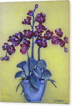 Ruby Red Orchids Wood Print by Sheila Tajima