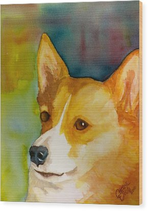 Ruby The Corgi Wood Print by Cheryl Dodd