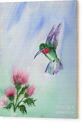 Ruby Throated Hummingbird Wood Print by Doris Blessington