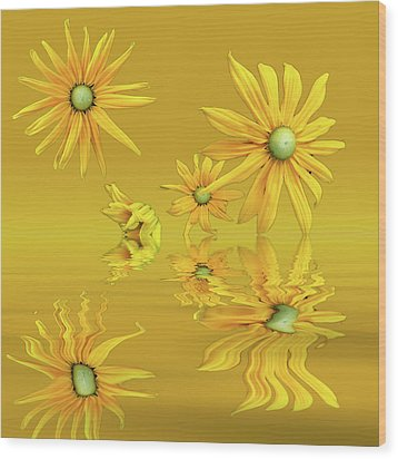 Wood Print featuring the photograph Rudbekia Yellow Flowers by David French