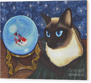 Wood Print featuring the painting Rue Rue's Fortune - Siamese Cat Koi by Carrie Hawks