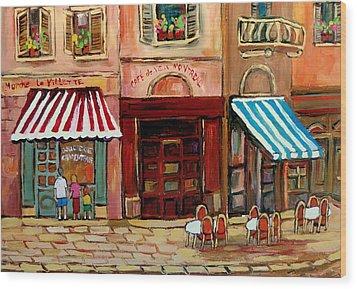 Rue St Paul Montreal Wood Print by Carole Spandau