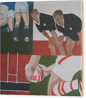 Rugby 2 Wood Print by Pat Barker