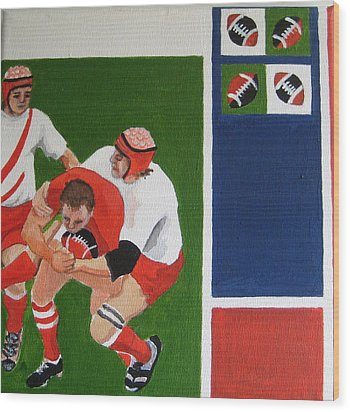 Rugby 3 Wood Print by Pat Barker