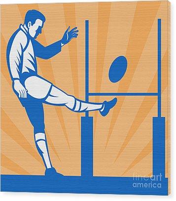 Rugby Goal Kick Wood Print by Aloysius Patrimonio