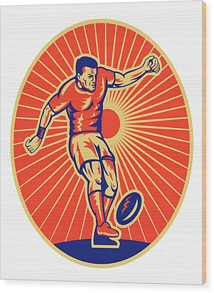 Rugby Player Kicking Ball Woodcut Wood Print by Aloysius Patrimonio