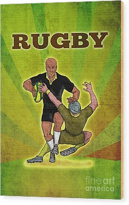 Rugby Player Running Attacking With Ball Wood Print by Aloysius Patrimonio