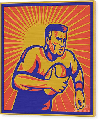 Rugby Player Running With Ball Wood Print by Aloysius Patrimonio