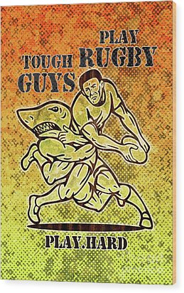 Rugby Player Running With Ball Attack By Shark Wood Print by Aloysius Patrimonio