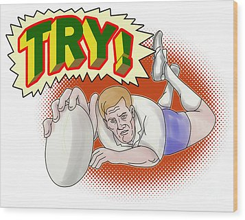 Rugby Player Scoring A Try Wood Print by Aloysius Patrimonio
