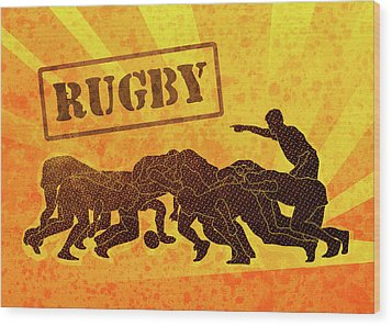 Rugby Players Engaged In Scrum  Wood Print by Aloysius Patrimonio