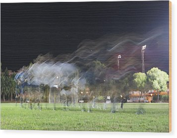 Rugby Training Wood Print by Stacy Spencer-Barclay