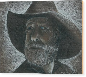 Rugged Blue Eyed Cowboy Wood Print