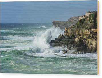 Wood Print featuring the photograph Rugged Coastal Seascape by Marion McCristall