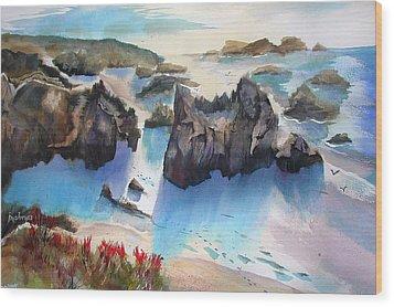 Marin Lovers Coastline Wood Print