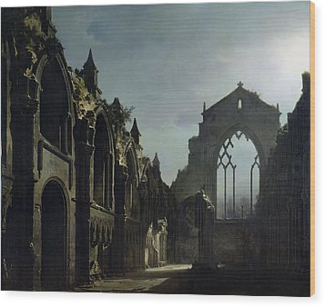 Ruins Of Holyrood Chapel Wood Print by Louis Jacques Mande Daguerre