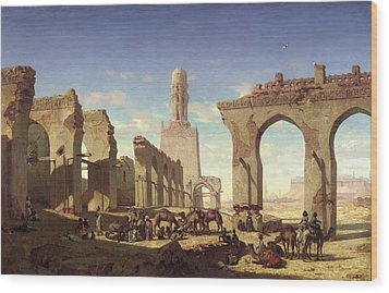 Ruins Of The Mosque Of The Caliph El Haken In Cairo Wood Print by Prosper Georges Antoine Marilhat