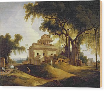 Ruins Of The Naurattan Wood Print by Thomas Daniell