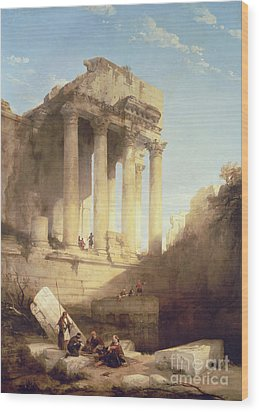 Ruins Of The Temple Of Bacchus Wood Print by David Roberts