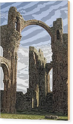 Ruins On The Holy Island Wood Print by Carl Purcell