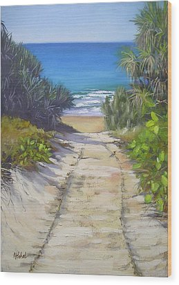 Wood Print featuring the painting Rules Beach Queensland Australia by Chris Hobel