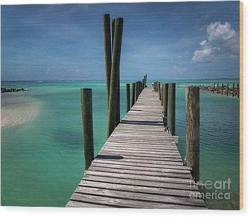 Rum Cay Marina Jetty In Bahamas Wood Print by Jola Martysz