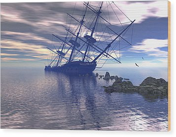 Wood Print featuring the digital art Run Aground by Claude McCoy