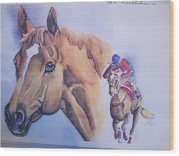 Run For The Cup Wood Print by Peg Whiting