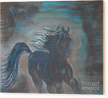 Wood Print featuring the painting Run Horse Run by Leslie Allen