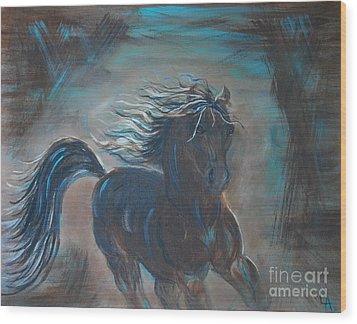 Run Horse Run Wood Print by Leslie Allen
