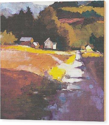Run-off On The Road Wood Print by Joseph Barani