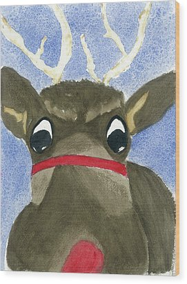 Run Run Rudolph Wood Print by Joan Zepf
